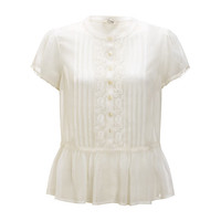 Buy Somerset by Alice Temperley Lace Trim Blouse, Cream online at John Lewis