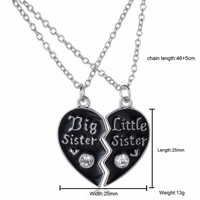 Sweet family jewelry-BFF Cute broken heart style big sister middle sister little sister best sister pendant necklace SM6