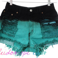 Vintage Levis OMBRE Dip Dyed Denim Destroyed High Waist Cut Off Shorts S