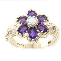 Solid English Sterling Silver Womens Fiery Opal & Amethyst Art Nouveau Flower Ring - Size 12 - Finger Sizes 5 to 12 Available - Suitable as an Anniversary ring, Engagement ring, Eternity ring, or Promise ring