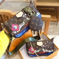 Hipgirls LV Louis vuitton Fashion new monogram leather shopping leisure wallet shoulder bag crossbody bag two piece suit