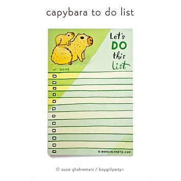 Capybara To Do List Notepad — Motivational Gift Idea