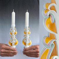 White candle set - Taper candles - Carved candles