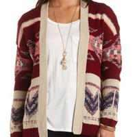 Aztec Print Open Front Cardigan by Charlotte Russe