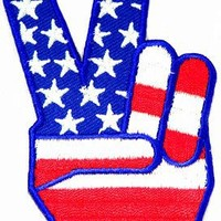 USA Peace Fingers Embroidered Patch 1960s V Victory Sign Iron-On Anti-War Symbol