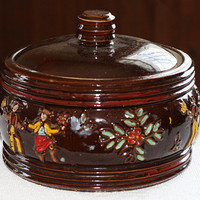 Early Red Wing Covered Casserole Hand Painted Pheasants Dancing