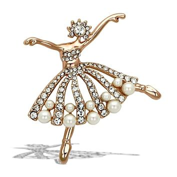 Vintage Brooches LO2802 Flash Rose Gold White Metal Brooches with Synthetic
