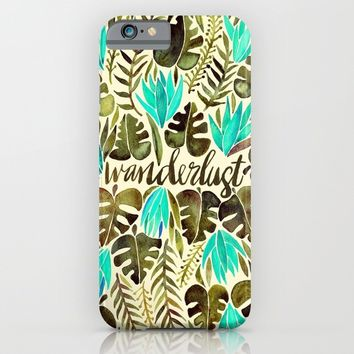 Tropical Wanderlust – Turquoise & Olive iPhone & iPod Case by Cat Coquillette