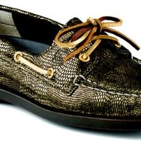 Sperry Top-Sider Authentic Original Metallic Snake Print 2-Eye Boat Shoe Gold, Size 8M  Women's Shoes
