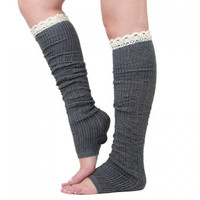 Pair of Chic Lace Decorated Solid Color Knitted Leg Warmers
