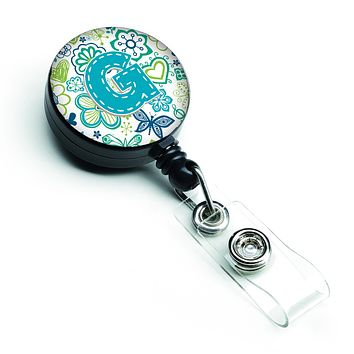 Letter G Flowers and Butterflies Teal Blue Retractable Badge Reel CJ2006-GBR