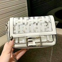 Fendi Tide brand female jelly transparent shoulder Messenger bag