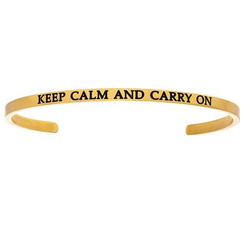 """Intuitions """"Keep Calm and Carry On"""" Yellow Stainless Steel Cuff Bangle Bracelet"""