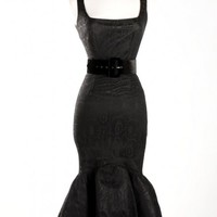 Vintage Goth Pinup Capsule Collection - Folly Flair Dress in Black Bridal Satin and 40s Spider Web Lace