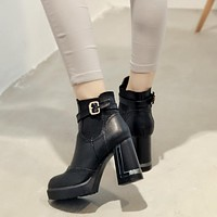 Carving Buckle Belt Platform Motorcycle Boots Chunky Heel Pumps 3130