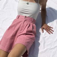 Vintage Blossom Pink Cotton High Waisted Shorts