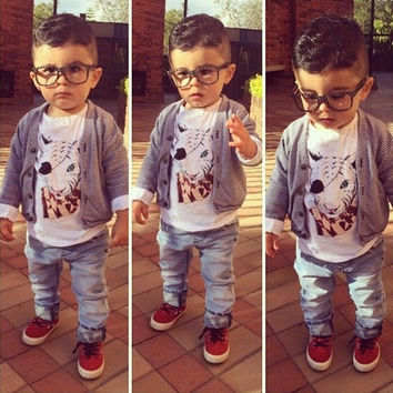 New Cute Boys Clothing Kids Boys Three Pieces Clothing Set Striped Outwear Coat and Animal Print Long Sleeve T-shirt with Jeans = 1929859140