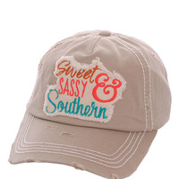 Sweet Sassy & Southern Distressed Baseball Cap Hat Khaki, Embroidered On Torn Denim Decor