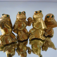 Brass Frogs Quartet Band Green Eyed Musical Frogs Decorative Figurines Frogs Miniatures