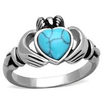Stainless Steel Claddagh Heart-Cut Synthetic Turquoise Promise/Engagement Ring