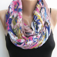 Infinity scarf- Floral multicolor loop scarf, lightweight circle scarf
