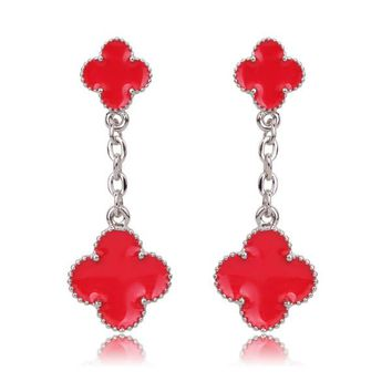 Beady Cleef Double Clover - Silver & Red
