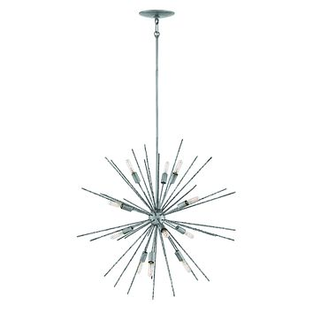 """30""""W Tryst 12-Light Stem Hung Pendant in Burnished Nickel"""