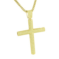 Canary Cross Pendant Iced Out Stainless Steel Franco Necklace