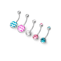14G Colored Crystal and Chevron Striped Belly Rings Set of 5