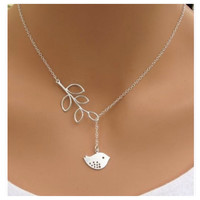 Beautiful Delicate and Dainty Leaf Dove Drop Necklace