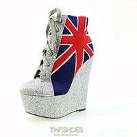 "Mona Mia Silver Glitter 6"" High Heel Platform Wedge Ankle Boots British Flag"