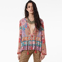 Gypsy Chic Lotus Print Deep V-Neck Lantern Sleeve Loose Fit Blouse