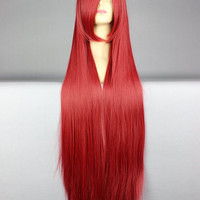 40 inches Anime Cosplay Wigs Wine Red Long Straight Wig