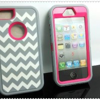 DELUXE Chevron Wave Hybrid Rubber Silicone Cover Case For iPhone 5 5S, Chevron Wave Print Hard Soft High Impact Hybrid Armor Case Combo for iPhone 5 5S, Hybrid 3 PIECE ZEBRA HARD PROTECT CASE COVER SKIN FOR iPhone 5 5S (Gary+ Pink)