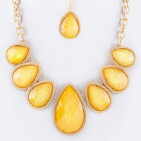 Teardrop Station Bib Necklace Set