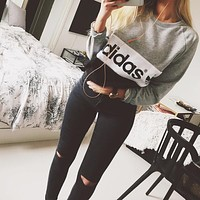 Adidas Print Sweatshirt Top Sweater Stretch Ripped Pants Trousers Jeans