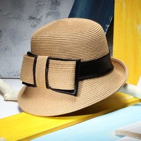 Women Elegant Retro Straw Hat Ladies Bow Sun Hat Fedoras Summer Beach Caps Capeline Chapeaux Femme