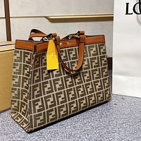 Fendi Peekaboo Series Classic FF Letter Print Handbag Shopping Bag Fashion Ladies Shoulder Bag