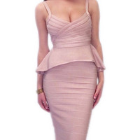 Beige Little Mermaid Two Pieces Bandage Dress