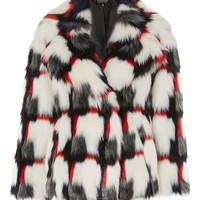 Geometric Pattern Faux Fur Coat