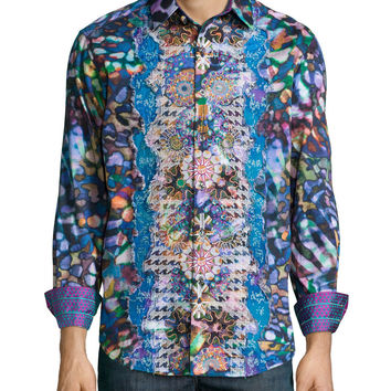 Embroidered Multi-Print Sport Shirt, Multicolor, Size: