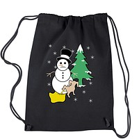 Snowman With Dog Peeing Ugly Christmas Drawstring Backpack
