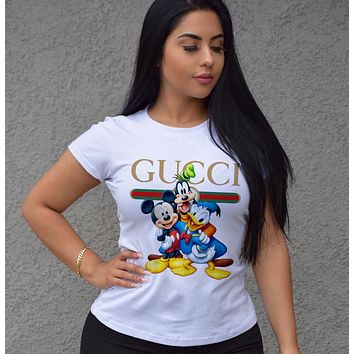 GUCCI Fashion Short Sleeve Pure cotton Print Round collar Top
