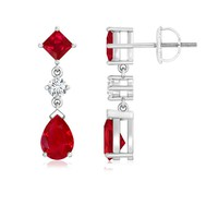 Pear, Square Ruby and Diamond Drop Earrings