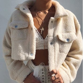 Teddy Button Up Cropped Jacket
