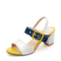 WowDresses — Fashion Color Blocking Leather Chunky Sandals