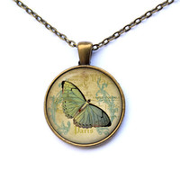 Insect jewelry Antique French pendant Butterfly necklace CWAO41