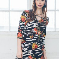 Zebra Loves Roses Dress