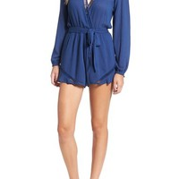 Lovers + Friends 'Oceanview' Ladder Stitch Surplice Romper | Nordstrom