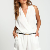 Ivory Cut Out Wrap Romper